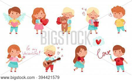 Flushed Boy And Girl Character Holding Love Heart And Dreaming Vector Illustration