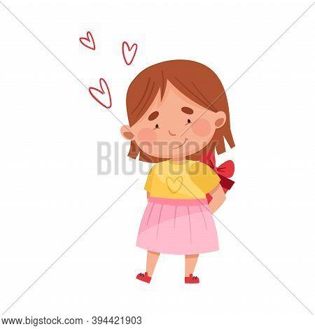 Flushed Girl Character Holding Gift Box Behind Her Back Vector Illustration