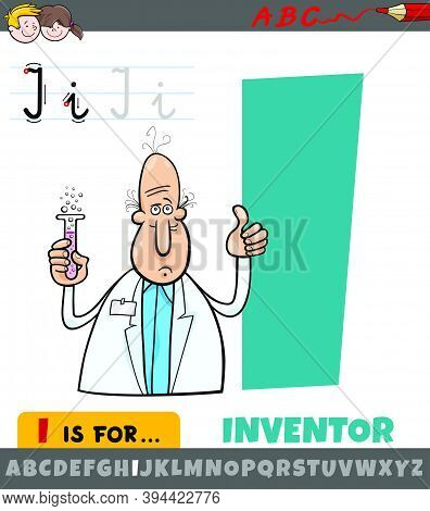 Educational Cartoon Illustration Of Letter I From Alphabet With Inventor For Children