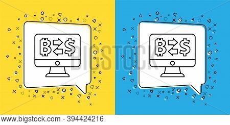 Set Line Cryptocurrency Exchange Icon Isolated On Yellow And Blue Background. Bitcoin To Dollar Exch
