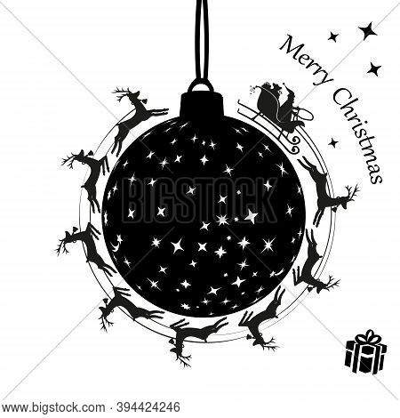 Santa Claus In A Sleigh And With Reindeer Spinning Around. Christmas Balls. Vector Illustration