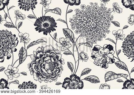 Vintage Seamless Pattern. Floral Black White Background. Flowers Roses, Peonies, Hydrangea, Chrysant