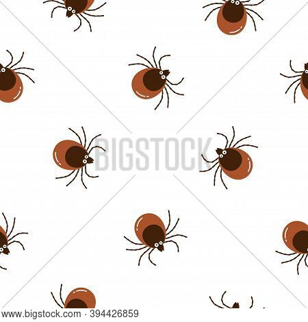 Seamless Pattern Cartoon Brown Tick Insect Icon Isolated On White Background. Mite Bug Drawn Abstrac