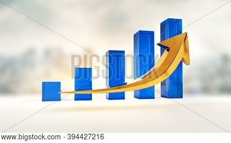 Financial Growth And Success Profits Statistics Chart. Corporate Analysis Of Money Profit Increase.