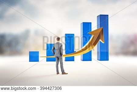Business Growth And Success Statistics Chart. Corporate Analysis Of Money Profit Increase. Financial
