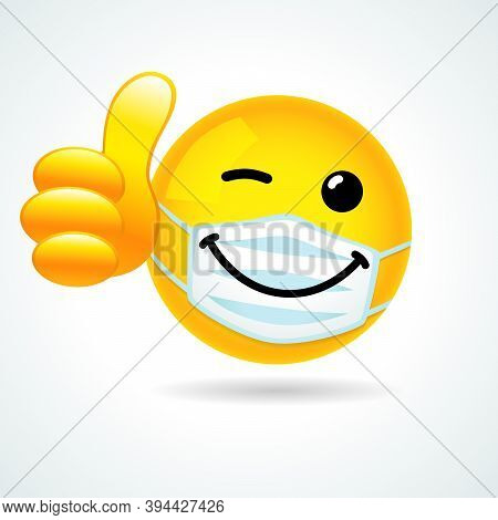 Emoji Smile Face With Guard Mouth Mask Showing Thumb Up. Yellow Winking 3d Emoticon Wearing A White