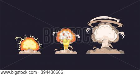 Nuclear Explosion Bomb Blast In Flat Style Collection, Nuke Atomic Explode Blast Mushroom Collection