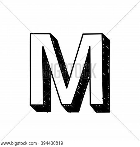 M Letter Hand-drawn Symbol. Vector Illustration Of A Big English Letter M. Hand-drawn Black And Whit