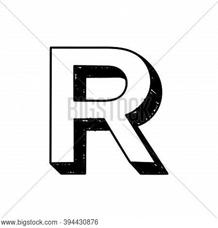 R Letter Hand-drawn Symbol. Vector Illustration Of A Big English Letter R. Hand-drawn Black And Whit