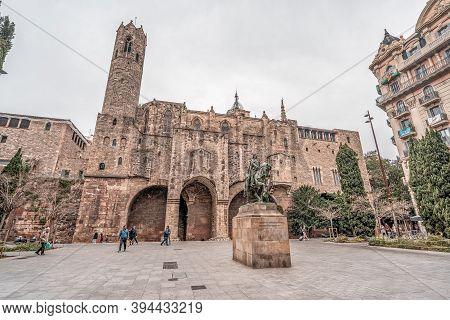 Barcelona, Spain - Feb 25, 2020: Facade Of Placa Del Rei Historym Museum