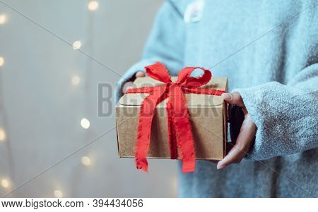 Give Gifts On The Big Day, People Holding Gift, Copy Space.