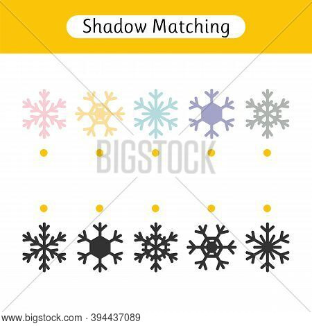 Matching Games For Kids. Worksheet With Christmas Snowflakes. Find The Correct Pair. Kids Activity F