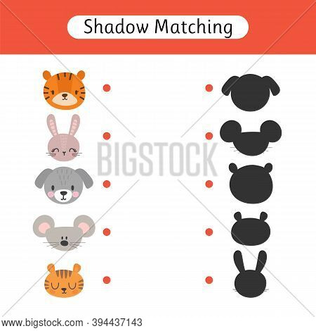 Shadow Matching Game For Kids. Find The Correct Shadow. Worksheets With Animals. Kids Activity For P
