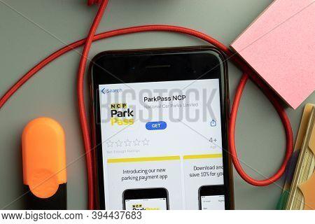 New York, United States - 7 November 2020: Parkpass Ncp App Store Logo On Phone Screen, Illustrative
