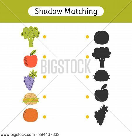 Shadow Matching Game For Kids. Worksheet With Food. Find The Correct Shadow. Kids Activity For Presc