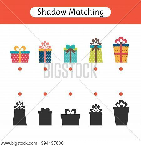 Shadow Matching Game For Kids. Worksheet With Gifts. Christmas. Find The Correct Shadow. Kids Activi