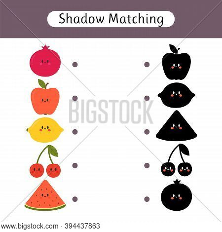 Shadow Matching Game For Kids. Worksheets With Cute Fruit. Find The Correct Shadow. Kids Activity Fo