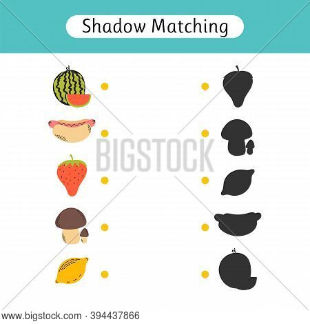 Shadow Matching Game For Kids. Worksheets With Food. Find The Correct Shadow. Kids Activity For Pres