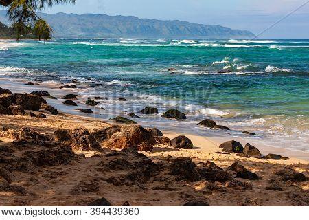 Laniakea Beach, Rocky Coast On East Side Of Beach, North Shore Oahu, Hawaii