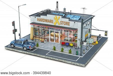 Hardware Store Building And Surrounding Area On A Piece Of Ground, 3d Illustration