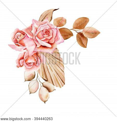 Flower Bouquet Floral Bunch, Boho Design Object, Element. Peach, Creamy Pale Pink Rose Flowers