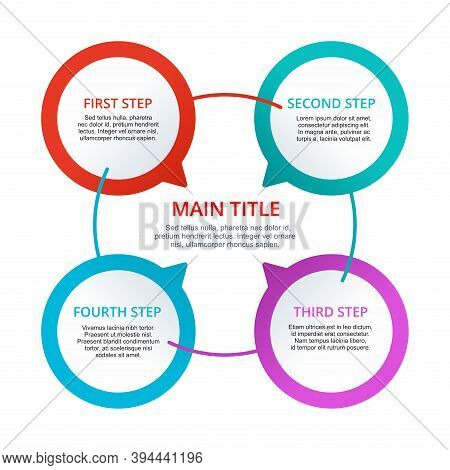 4 Steps Infographics (four Points) With Colorful Diagram Segments In Symmetric Composition And With