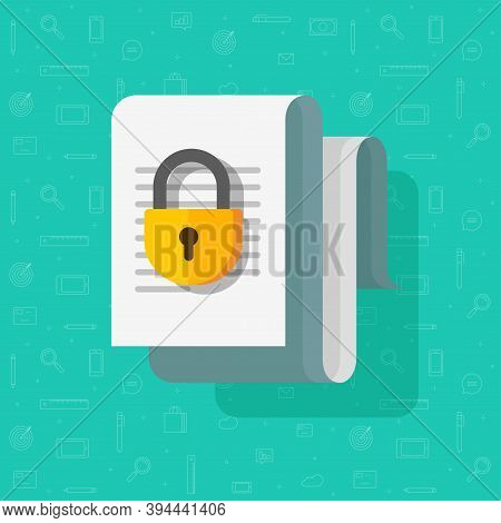 Access Closed Or Locked For Document File Vector Flat Cartoon Icon, Permission Concept, Confidential