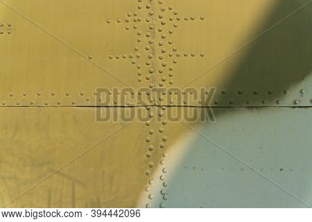 Rivets On The Fuselage, Helicopter Body Close-up.