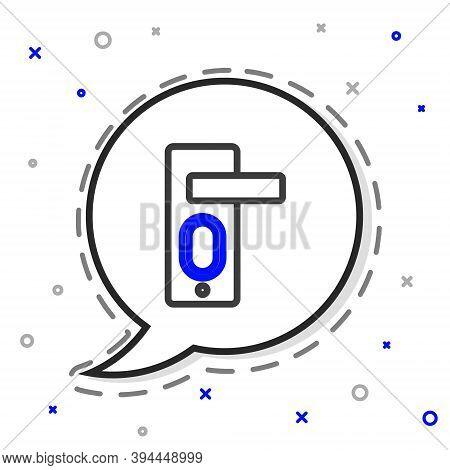Line Fingerprint Door Lock Icon Isolated On White Background. Id App Icon. Identification Sign. Touc