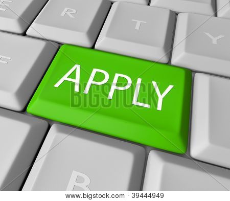 Apply online by pressing this green computer keyboard key to complete your application for a job, entry form or other official qualification