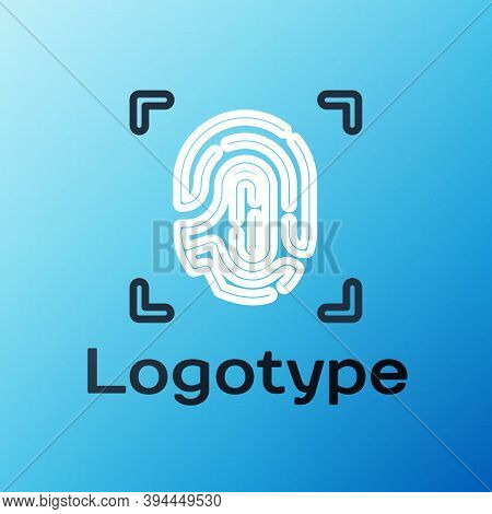 Line Fingerprint Icon Isolated On Blue Background. Id App Icon. Identification Sign. Touch Id. Color