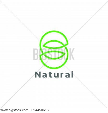 Letter S Infinity Leaf Nature Geometric Linear Logo Vector