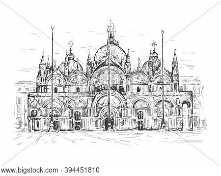 Basilica Di San Marco In Venice, Italy. Landmark Of Venice. Sketch Vector Illustration. Black Line I