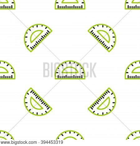 Line Protractor Grid For Measuring Degrees Icon Isolated Seamless Pattern On White Background. Tilt