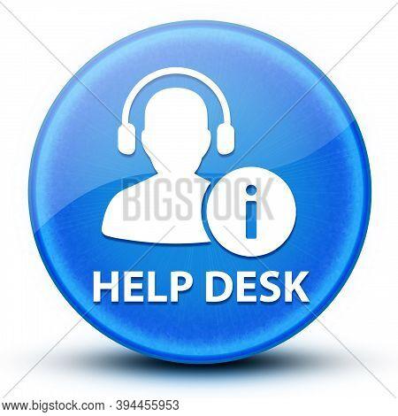 Help Desk Eyeball Glossy Blue Round Button Abstract Illustration