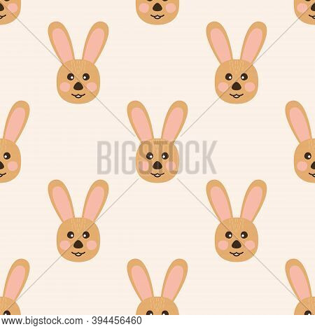 The Seamless Pattern With The Rabbits On The Beige Background. The Save With The Clipping Mask.