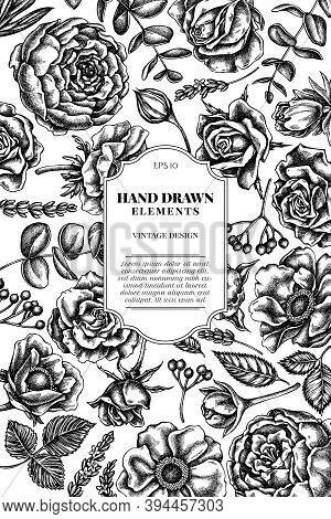 Card Design With Black And White Roses, Anemone, Eucalyptus, Lavender, Peony, Viburnum Stock Illustr