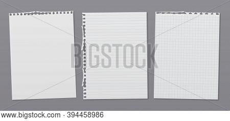 Torn Of White Lined, Math Note, Notebook Paper Are On Dark Grey Background For Text, Advertising Or