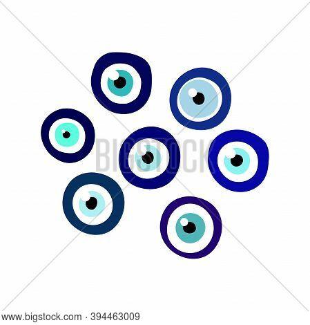 Nazar Boncugu Amulet Blue Eye Set. Turkish, Greece, Arabian Talisman Isolated On White Background. F