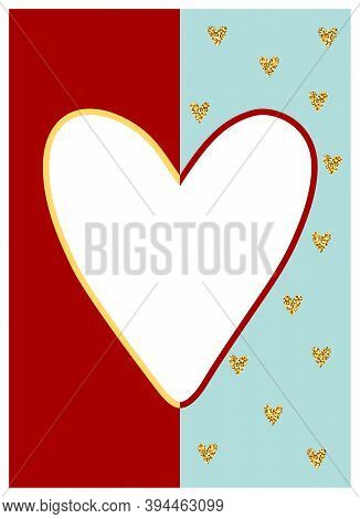 Valentines Day Glitter Greeting Card. White, Gold Hearts On Blue, Red Background. Shiny Sparkles, Sh