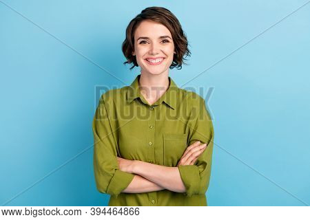 Photo Of Lovely Cute Lady Short Hairdo Cheerful Smile Crossed Hands Cheerful Toothy Beaming Smile Co