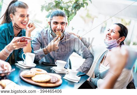 Friends Having Fun Eating Croissants At Coffee House - Young People Laughing Together At Restaurant