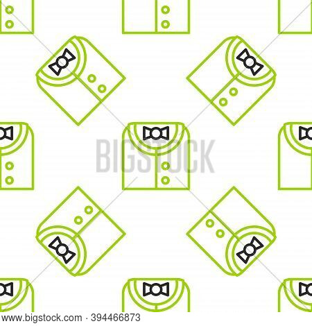Line Suit Icon Isolated Seamless Pattern On White Background. Tuxedo. Wedding Suits With Necktie. Ve