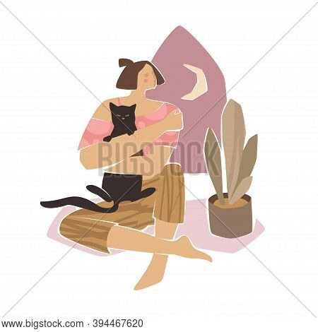 Cat Lady Trendy Scenery In Washed Colors. Modern Persona Illustration With Young Woman Holding Black