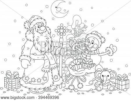 Santa Claus And A Funny Snowman With A Snowy Christmas Fir Tree And A Magic Bag Of Holiday Gifts For