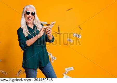 Photo Of Funky Granny Lady Pack Usa Bucks Hands Money Fall Sky Wealthy Person Spend Money Luxury Wea