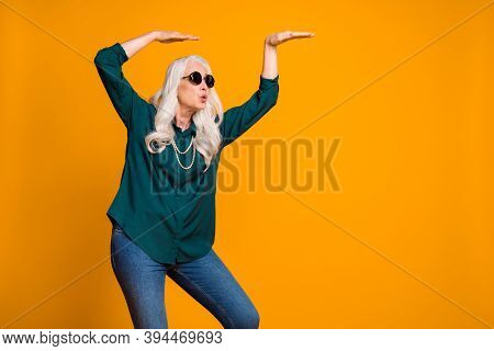 Photo Of Crazy Grandma Lady Music Lover Senior Retro Party Cool Look Dancing Strange Youngster Moves