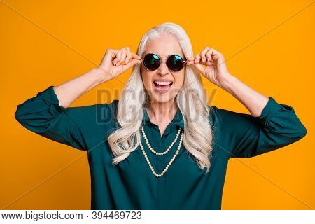 Photo Of Pretty Cheerful White Haired Grandma Lady Music Lover Senior Party Active Way Of Life Cool