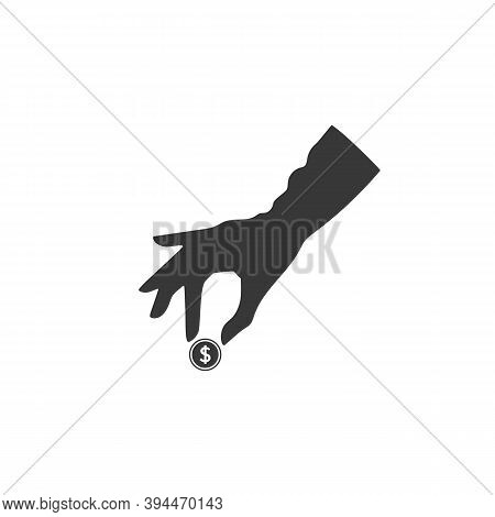 Pictograph Of Money In Hand. Vector Icon. Woman Hand Giving Money