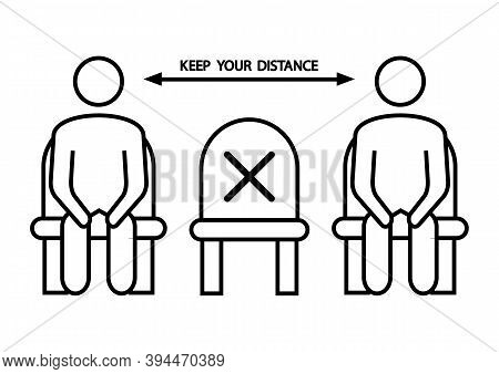 Do Not Sit Here. Forbidden Icon For Seat. Social Distancing, Physical Distancing Sitting In A Public
